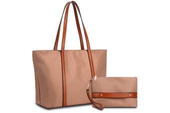(Pink Bag Brown Strap) - YALUXE Women Oxford Laptop Tote Bag Nylon Shoulder Hobo Handbag Fits 38cm Tablet Come with Wristlet Purse Pink Bag Brown Strap
