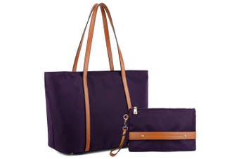 (Purple Bag Brown Strap) - YALUXE Women Oxford Laptop Tote Bag Nylon Shoulder Hobo Handbag Fits 38cm Tablet Come with Wristlet Purse Purple Bag Brown Strap