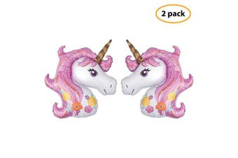 "(Pink) - 7 Colours Kids Unicorn Balloon 2 Pcs 43"" Large Foil Balloons Unicorn Party Decoration for Birthday Party, Baby Shower, Wedding Unicorn Party Supplies"