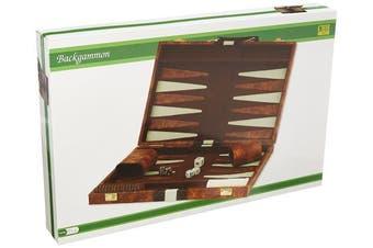 46cm BROWN & WHITE STRIPES BACKGAMMON GAME SET