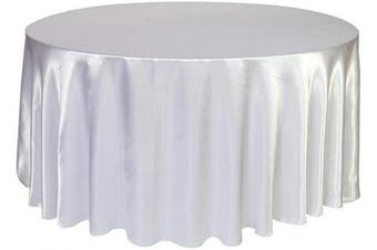 (300cm  Round, White) - BIT.FLY Round Tablecloth 300cm - Satin Silk Fabric Table Cover for Wedding Dinner Party Circular Oval Table, White Table Cloth