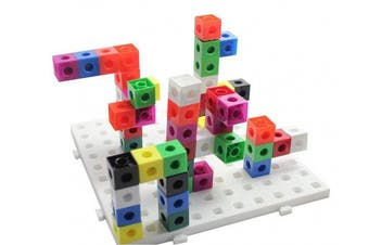 a2bsales 100 x 2cm Snap Cubes & Baseboard - Counting Linking Building Maths Home Early Learning