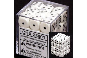 (White) - Opaque 12mm D6 Chessex Dice Block (36 Die) - White with Black Pips