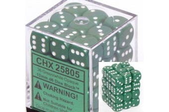 Chessex Opaque 12mm d6 Green w/White Dice Block 36 Dice