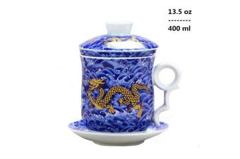 (Blue) - 4pcs Set of Chinese Dragon Pattern Tea-Mug with Strainer Infuser and Lid and Saucer Ceramic Tea Mug Convenient System Chinese Porcelain Personal Tea Cup,13.5oz(400ml)/4 Colours (BLUE)