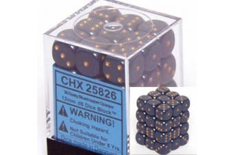 Blue-Copper Dusty Opaque 12mm D6 Dice Set of 36