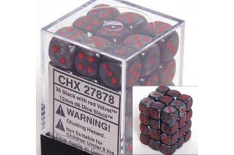 Chessex Velvet 12mm d6 Black w/Red Block 36 Dice