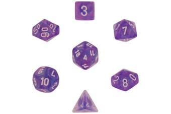 Chessex Dice: Polyhedral 7-Die Borealis Dice Set - Purple w/white CHX-27407