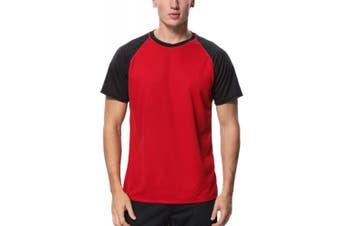 (X-Large, Red - Black) - Charmo Mens Sun Protection Swim Shirts Rash Guard Swim Tee Short Sleeve Swimwear