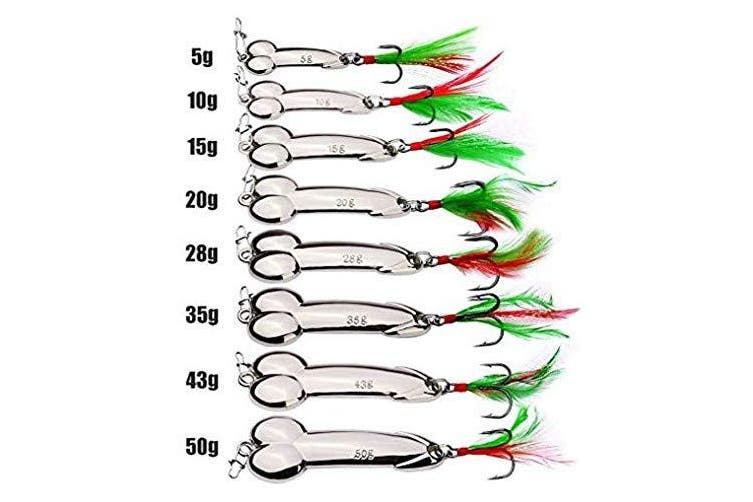 (20g(2pcs), Silver) - FNAPE Fishing Jigs,2pcs Spoon Fishing Lures Sinking Jig Fish 5g-50g Nickel Treble Hooks with Feather Metal Sequins Bait in Freshwater and Saltwater for Bass Trout Walleyes Pike