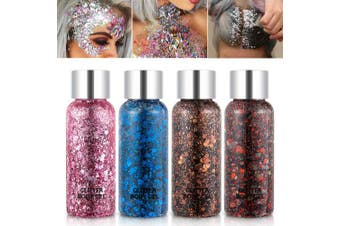 (Set B) - Holographic Body Glitter Gel Set 4 Colours Cosmetic Chunky Glitters Flakes Gel Colourful Mixed Paillette Gel for Festival Party Face Makeup, Body, Hair, Eye and Lips Shimmer Pink, Blue, Brown