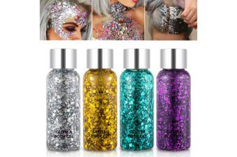 (Set A) - Holographic Body Glitter Gel Set 4 Colours Cosmetic Chunky Glitters Flakes Gel Colourful Mixed Paillette Gel for Festival Party Face Makeup, Body, Hair, Eye and Lips Shimmer Gold,Silver,Purple,Green