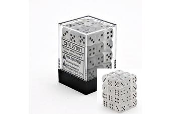 Chessex Frosted 12mm d6 Clear w/Black Dice Block 36 Dice