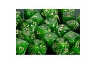 Chessex Dice: Polyhedral 7-Die Vortex Dice Set - Green w/gold