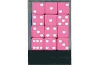 Pink Dice with White Pips - 1 Dozen