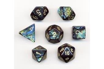 7 Scarab Polyhedral Dice (Jade w/ Gold)