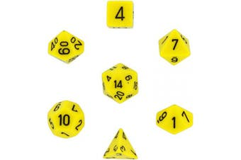 Chessex Dice: Polyhedral 7-Die Opaque Dice Set - Yellow with Black [Toy]