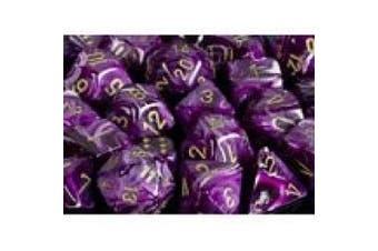 Chessex Dice: Polyhedral 7-Die Vortex Dice Set - Purple w/gold