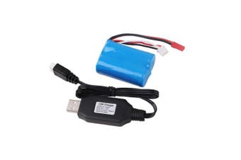 Crazepony-UK 7.4V 1100mAh Battery 15C JST Plug with USB Charger for RC Car Boat Spare Parts Accessories