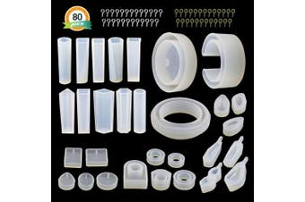 (New Jewelry Molds Kit) - 30Pcs Resin Jewellery Moulds - LET'S RESIN Silicone Moulds for Epoxy Resin, UV Resin, Including Various Shape Pendant Moulds, Bangle Moulds, Ring Moulds, and 50Pcs Screw Eye Pins