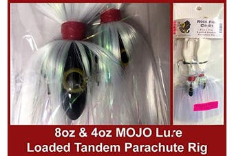 (Black Mojo on White Shad) - Blue Water Candy - Rock Fish Candy 240ml & 120ml Mojo Lure Loaded with 23cm Swimbait Shad Bodies Tandem Parachute Rigged & Ready
