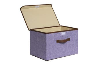 (Purple-Sigle) - Storage Bins, UUJOLY Foldable Storage Box Cube with Lids and Handles Fabric Storage Basket Bin Organiser Collapsible Drawers Containers for Nursery,Closet,Bedroom,Home (Purple-Sigle)