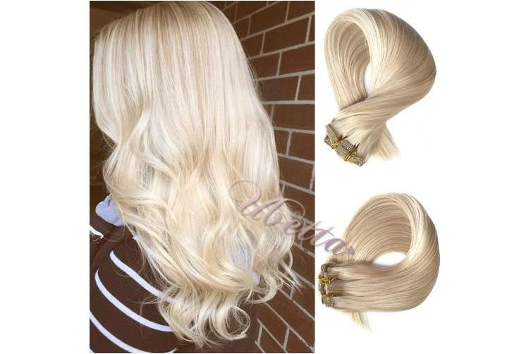 (46cm , 120G-#60) - Clip in Real Hair Extensions Platinum Blonde 120G 7pcs Double Weft Remy Hair Clip in Extensions 100% Human Hair Silky Straight Full Head 46cm for Women Girls