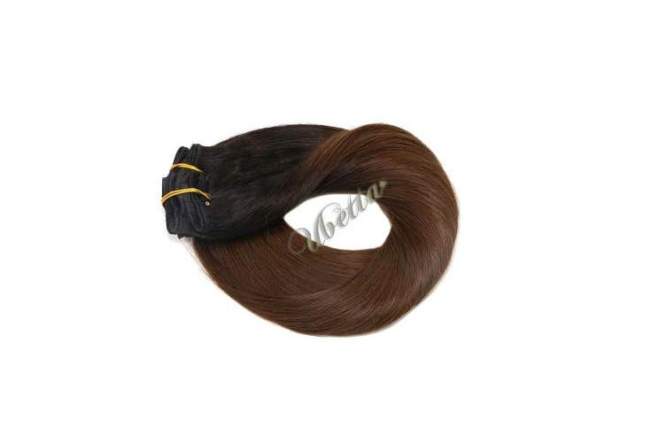 (36cm , 120G-#1BT4) - Clip in Hair Extensions Natural Black Fading to Medium Brown 120G 7 Pcs Double Weft Silky Straight Thicken 100% Human Hair Clip in Remy Extensions Full Head 36cm for Women Girls