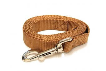 (1.8m-Long x 1cm  Wide, Earthtone Brown) - Earth-tone Brown 1.8m Long (1cm width) Premium Pet Leash by Collar Galaxy
