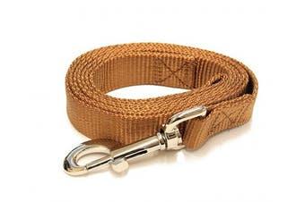 (1.2m-Long x 1.9cm  Wide, Earthtone Brown) - Earth-tone Brown 1.2m Long (1.9cm width) Premium Pet Leash by Collar Galaxy
