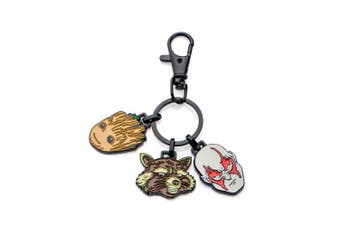 Marvel Base Metal Guardian of the Galaxy Groot, Rockt,and Drax wih Black IP Key Chain