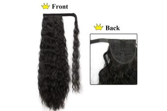 (50cm , 2#) - Alimice Long Ponytail Extension Wavy Synthetic Curly Drawstring Ponytail for Women Magic Paste Black Kinky Straight Wrap Around Clip in Hairpiece Heat Resistant for Girl Lady (50cm , 2#)