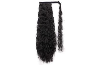 (50cm , 1B#) - Alimice Wavy Ponytail Extension for Women Black Synthetic Magic Paste Ponytail 50cm Long Wave Drawstring Ponytail Extensions Curly Wavy Heat Resistant Hairpieces (50cm , 1B#)