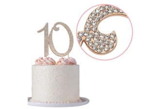 (10 Rose) - 10 Cake Topper | ROSE GOLD | Premium Bling Crystal Rhinestone Diamond Gems | 10th Birthday or Anniversary Party Decoration Ideas | Quality Metal Alloy | Perfect Keepsake