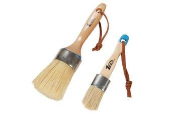 1st Place Products Chalk & Wax 2 Piece Brush Set - 5.1cm Large Round Brush & 2.5cm Flat Brush - Natural Bristles