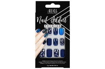 (Matte Blue) - Ardell Nail Addict Premium Artificial Nail Set, Matte Blue