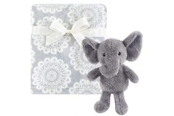 (snugglyelephant, onesize) - Hudson Baby Unisex Baby Plush Blanket with Toy, Snuggly Elephant , One Size