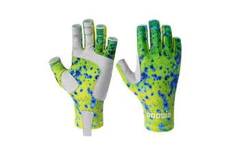(Large, Mahi-mahi) - Booms Fishing FG2 Fingerless Gloves Fishing Sun Gloves