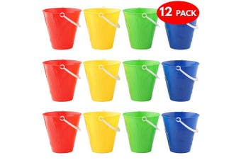 12 Brightly Coloured Buckets - Assorted Colours Sand & Beach Toys - Ideal for Beach, Park or Sandpit, Fun Summer Beach Party - Red, Blue, Green, Yellow.
