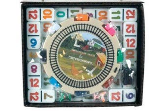(MEXICAN TRAIN SET WITH NUMBERS) - CHH Double 12 Numeral Mexican Train Dominos with 2-in-1 Hub