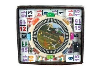 (DOMINOES WITH ACCESSORIES) - CHH Double 15 Numeral Mexican Train Dominoes with 2-in-1 Hub
