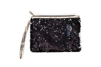 (Black) - RARITYUS Women Girls Mermaid Sequin Envelop Handbag Reversible Glitter Makeup Pouch Cosmetic Bag Party Clutch