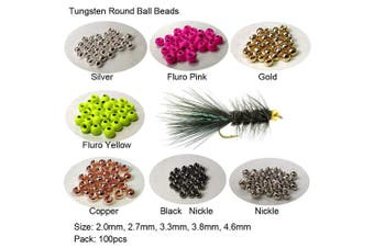 (3.3mm, Fluro yellow) - Aventik Think Fast Think Deep 100pc Tungsten Beads Round Ball Beads Fly Tying Materials 7 Colours / 5 Sizes Fly Fishing, Nymph Streamer