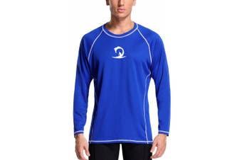 (X-Large, Royal Blue/White) - Charmo Men's Rash Guard Loose Fit Long Sleeve UV Protection Sun Shirts Swim Shirt UPF 50+