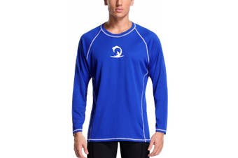 (XX-Large, Royal Blue/White) - Charmo Men's Rash Guard Loose Fit Long Sleeve UV Protection Sun Shirts Swim Shirt UPF 50+