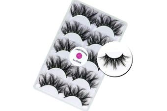 3D Mink 25mm False Eyelashes LASGOOS Siberian Luxurious Soft Cross Thick Very Long Wedding Dram Party 5 Pairs Fake Eye Lashes E89