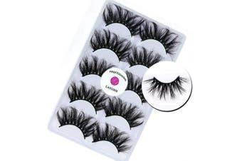 3D Mink 25mm False Eyelashes LASGOOS Siberian Luxurious Soft Cross Thick Very Long Wedding Dram Party 5 Pairs Fake Eye Lashes E87