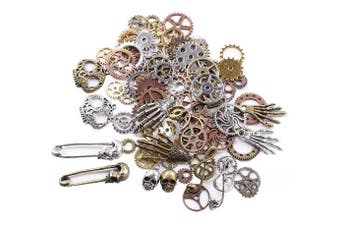 (Assorted Color -140g) - BIHRTC 140 Gramme (Approx 92pcs) DIY Assorted Colour Antique Metal Steampunk Watch Gear Cog Wheel Skull Musical Note Skull Hand Safety Pin Charms Pendant for Crafting, Jewellery Making Accessory