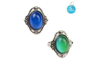 (Oval) - Carykon 2 PCS Oval Mood Ring Retro Style Adjustable Finger Ring for Lovers Friends-One Size fits All