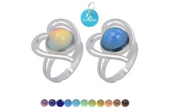 (Perfect Love) - Carykon 2 PCS Round Heart Mood Ring Retro Style Adjustable Finger Ring for Lovers Friends-One Size fits All (Perfect Love)